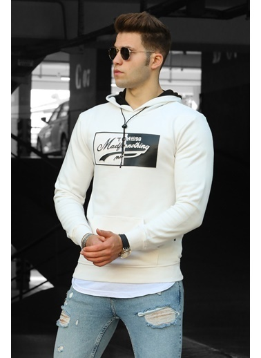 Madmext   Erkek Sweatshirt 4750 Beyaz